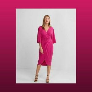 Express Pink Kimono Sleeve Wrap Front Midi Dress